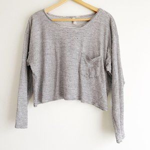 American Apparel Striped Cropped Long Sleeve Tee